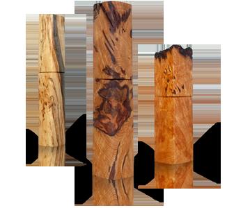woodandform Mühlen aus gestocktem Holz und Eiche Maser