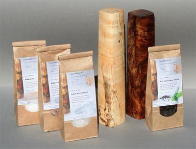 unser bestes Salz und Pfeffer für die Woodandform Pfeffer- und Salzmühlen
