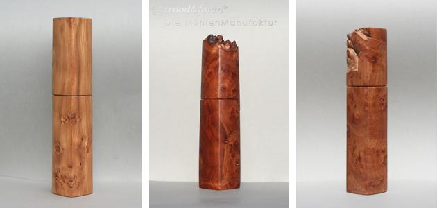 Woodandform Pfeffermühlen aus Ulmenholz und Ulme Maserknolle