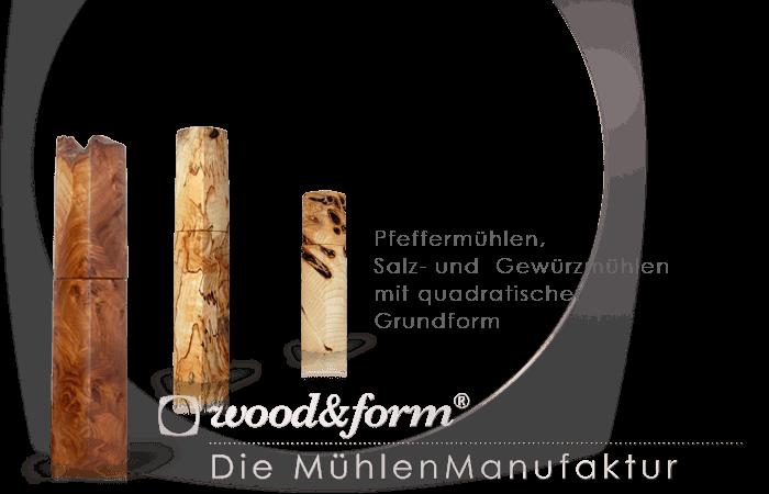 Woodandform Salz- und Pfeffermühlen – mit quadratischer Grundform