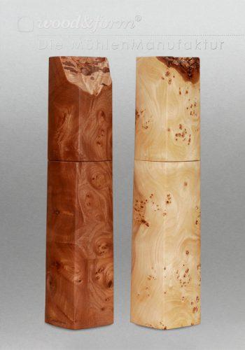 Pfeffermühle Salzmühle Kunsthandwerk eckig Holz