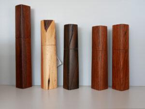 Woodandform Salz- und Pfeffermühlen aus Eisenholz, Flieder Ziricote und Cocobol